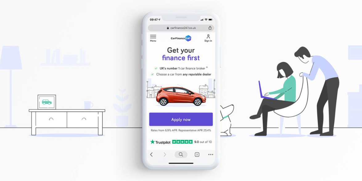 A mobile device showing the CarFinance 247 Homepage that reads Get your Finance First.